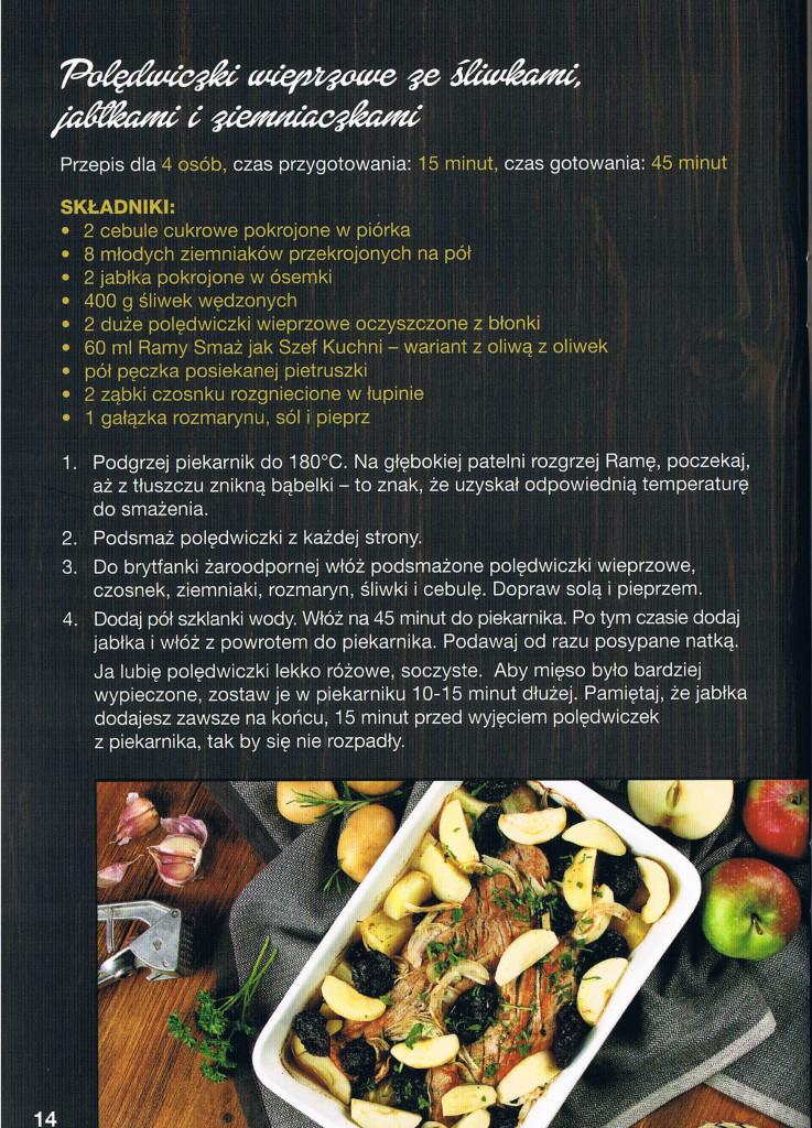 przepis poledwiczki wieprzowe ze sliwkami, jablkami i ziemniaczkami