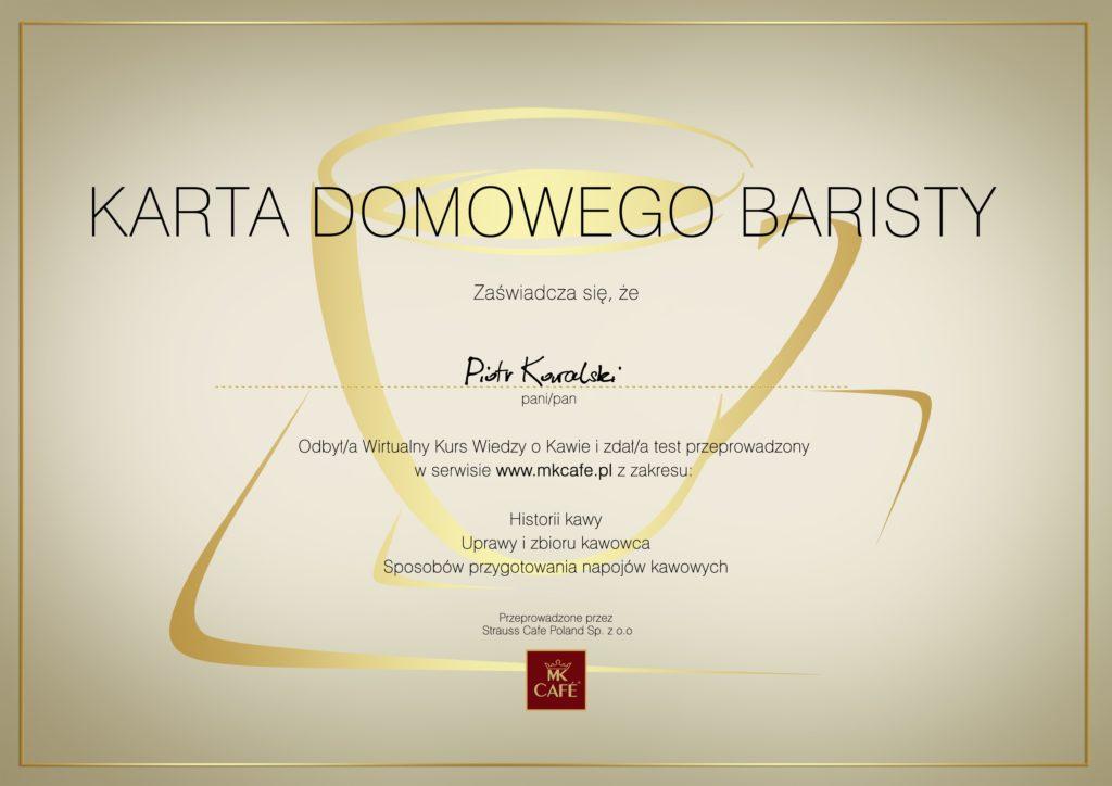 darmowy gadżet - certyfikat baristy mk cafe