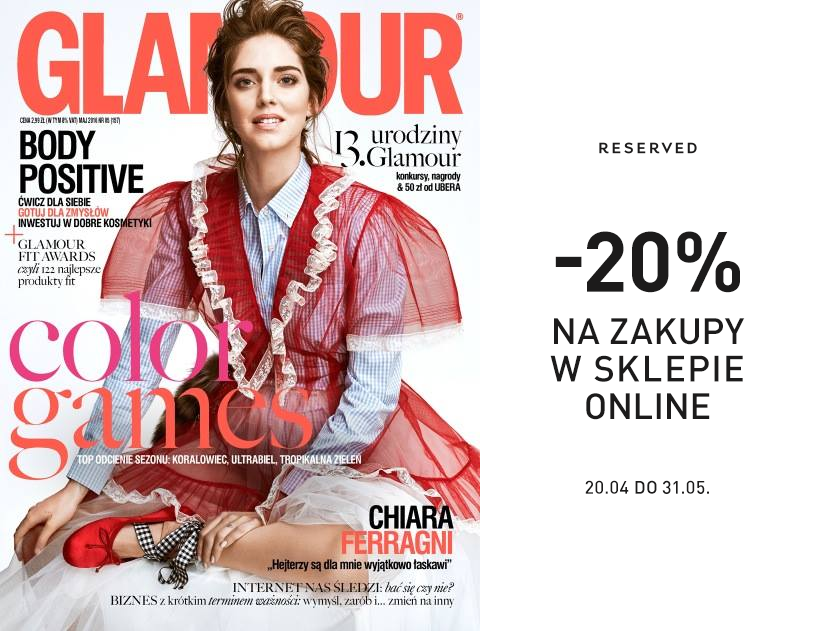 Glamour maj 2016 darmowe próbki i kupony rabatowe reserved