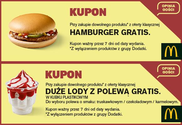 darmowy kupon na hamburgera lub lody w McDonald