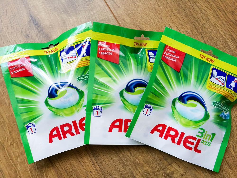 próbki kapsułek do prania ariel