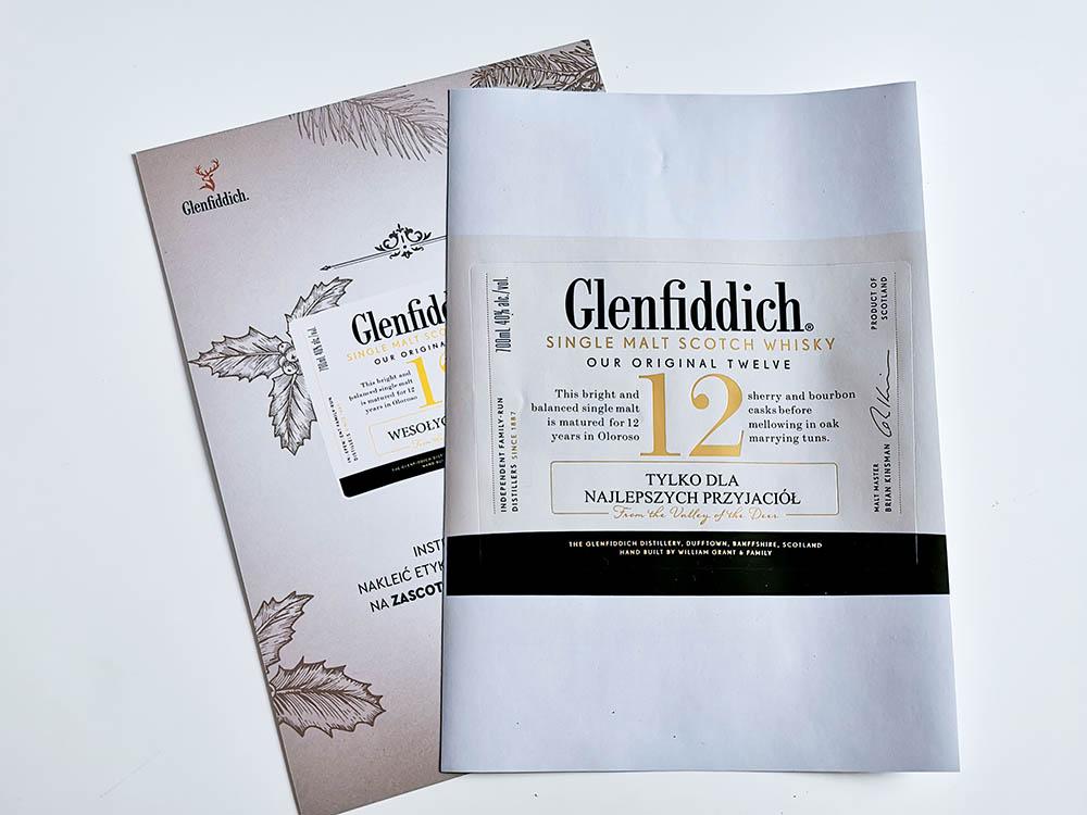 etykiety glenfiddich na butelki whisky