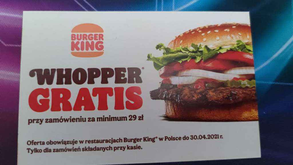darmowy burger whooper w burger king